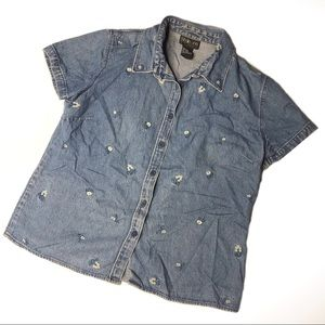 Denim Embroidered Button Down Shit